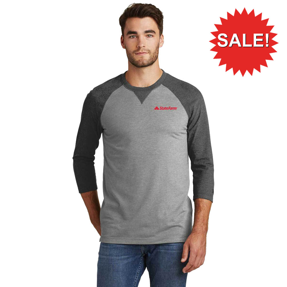 NEW ERA MEN'S SUEDED COTTON 3/4 SLEEVE TEE