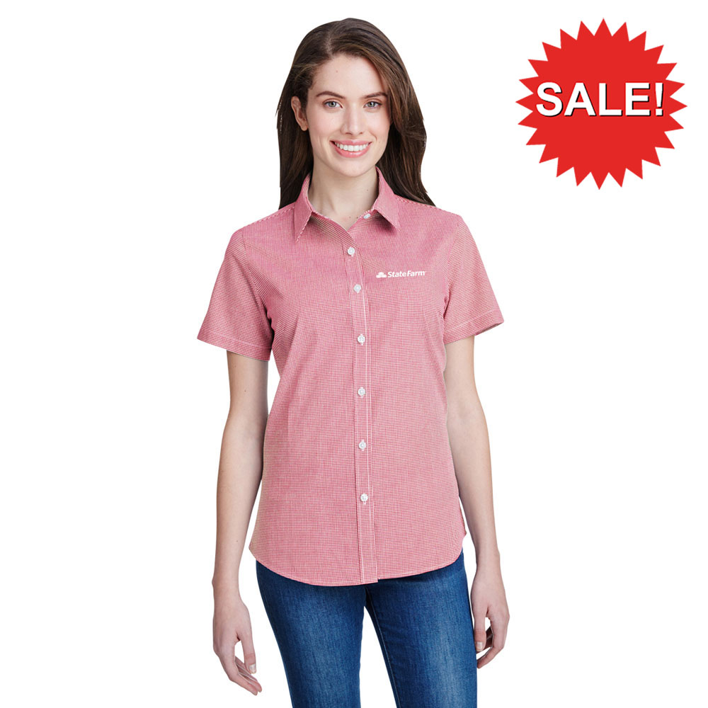 Ladies' Microcheck Gingham Short-Sleeve Cotton